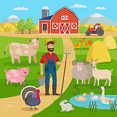 Happy farmer with agricultural landscape and farm animals standing in front of the farm barn and fields with crop. Eco Farming concept vector illustration in flat design. Big set for farm infographics
