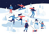 People having winter activities in park, skiing, skating, snowboarding, girl walking the dog, girl making a cute snowman, cartoon characters in flat design isolated on white. Vector illustration