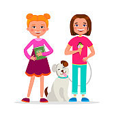 Cute girls having fun standing together vector cartoon characters isolated on white background. School Girl friendship concept flat illustration. Girls friends walking the dog, smiling.