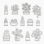Set of houseplants icons in line design, editable stroke. Various plants collection in flowerpots isolated. Indoor plants icons and infographic elements - vector stock illustration.
