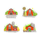 Farming logo collection in line design. Farm barns, farmhouses, windmill vector flat illustration isolated on white background. Labels for natural eco farm products