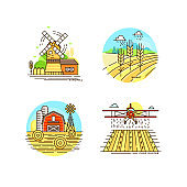Farming logo collection in line design. Farm landscapes, barn, windmill, cropfield, wheat vector flat illustration isolated on white background. Labels for natural eco farm products