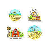 Farming logo collection in line design. Farm landscapes, barn, windmill, cropfield vector flat illustration isolated on white background. Labels for natural eco farm products