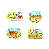 Farming logo collection in line design. Farm landscapes, barn, tractor, cropfield vector flat illustration isolated on white background. Labels for natural eco farm products