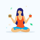 Yoga and healthy lifestyle concept vector illustration in flat design. Woman in lotus position sitting and holding fresh apple and hamburger comparing the benefits isolated on light background.