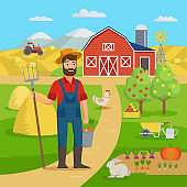 Happy farmer with agricultural landscape and garden standing in front of the farm barn and fields with crop. Eco Farming concept vector illustration in flat design. Big set for farm infographics