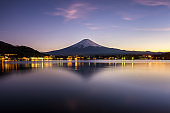 Mt. Fuji, Japan at Lake Kawaguchi after sunset.