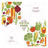 Papercut style vegetables design template. Organic vegetables. Vector illustration