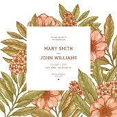 Retro floral wedding invitation. Anemone botanical vintage background. Vector illustration