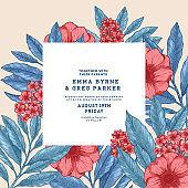 Floral retro wedding invitation. Anemone botanical vintage background. Vector illustration
