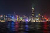 Beautiful view of hong kong skyline at night scene
