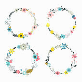 Vector wreath with pastel flowers.