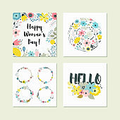 Set of cute colorful floral elements.