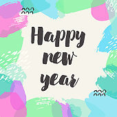 Happy new year banner. Vector hand drawn typography card.