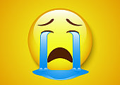 emoticon crying out face