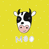 Vector poster with hand drawn funny cow.