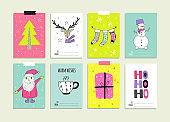 Set of hand drawn christmas card templates.