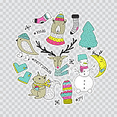 Hand draw collection or winter stickers, pins, patches.