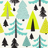 Vector seamless pattern with winter Christmas trees.