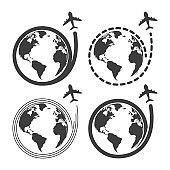 Travel set icons with airplane fly around the earth