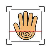 Biometric hand scanning icon