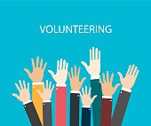Raise hands. Hand gesturing. Volunteering. Voting. Blue background. Vector illustration
