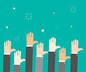 Raise hands. Hand gesturing. Voting. Green background. Vector illustration