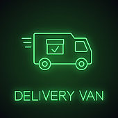 Delivery van with checkmark neon light icon