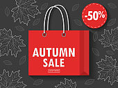 Shopping bag with autumn sale