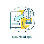 Mobile app downloading icon