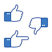 Hand gesturing. Thumbs up and thumbs down. Like and dislike icons for social network. Ok sign. Vector illustration