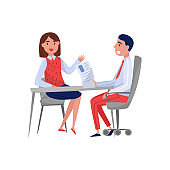 Young woman having job interview with HR specialist, jobseeker and employer sitting at the table and talking vector Illustration on a white background
