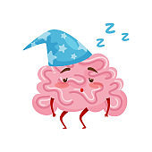 Sleepy tired humanized brain in blue nightcap. Cartoon character of human organ. Flat vector icon