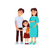 Portrait of young happy family father, mother and daughter. Pregnant woman. Cartoon people expecting baby born. Little girl holding teddy bear in hand. Flat vector design