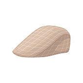 Vintage checkered beret cap with visor. Elegant peaked hat. Trendy men s headwear. Flat vector icon