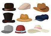 Flat vector set of man and woman hats. Stylish male and female headwear. Baseball cap and elegant panama. Fashion theme