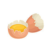 Yolk of chicken egg in broken shell. Fresh and healthy food. Eco product. Ingredient for cooking. Flat vector design