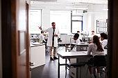 Male High School Tutor Teaching High School Students Wearing Uniforms In Science Class