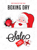 Template or flyer design, 70% discount offer with cute fighter santa claus illustration on white background for Boxing Day sale.