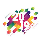 White text 2019 on abstract background for Happy New Year celebration greeting card design.