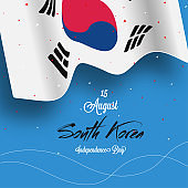 National flag of South Korea isolated on sky blue background with confetti effect for Korean Independence Day celebration.