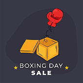 Boxing Day poster or flyer design with surprise gift box and boxing glove on blue background.