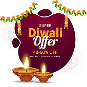 Super Diwali Offer 40-60% discount offer with illuminated oil lamps on white floral background for Indian festival celebration concept.