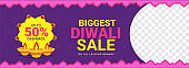 Biggest Diwali Sale header or banner design with 50% cashback offer on purple background with space for your product image.
