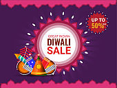 Great Indian, Diwali sale poster or banner design with 50% discount offer and illustration of firecrackers on purple background.