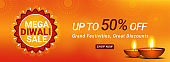Mega Diwali Sale header or banner design with 50% discount offer and illuminated oil lamps on shiny orange background.