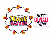Diwali bazaar poster or banner design with flat 50% offer for Indian Festival celebration concept.