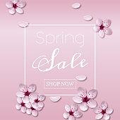 Realistic cherry blossom, flowers of sakura. Banner for spring sale. Vector art and illustration.