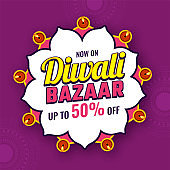 Diwali Bazaar template or flyer design with 50% discount offer on purple floral background for Indian festival celebration.