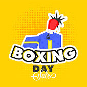 Sticker style with surprise gift box and boxing glove on yellow halftone background for Boxing Day sale template or flyer design.